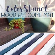 DIY Color Stained Wood Welcome Mat