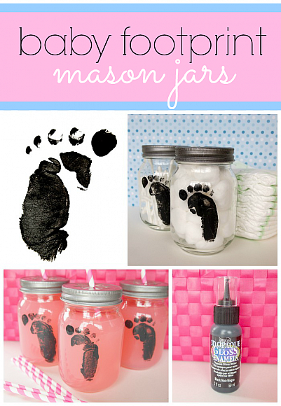 Decoart Blog Crafts Baby Footprint Mason Jars
