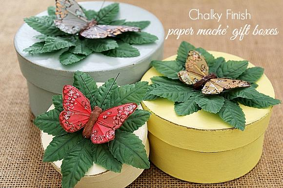 Decoart blog crafts chalky finish butterfly gift boxes for Finishing paper mache