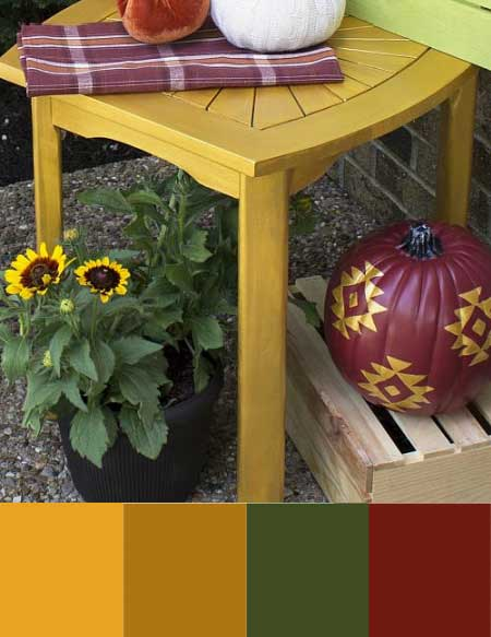A fall color scheme with marigold yellow, golden brown, burgundy, and a deep olive green.