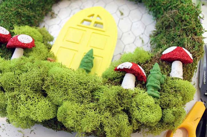 Keep Layering On Moss And Fairy Garden Miniatures Until You Are Happy With  Your Wreath. Secure Everything With Hot Glue.