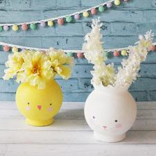 Chick and Bunny Easter Vases