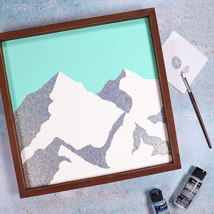 Instruction #7 - holographic illusions minimal mountain art square 2