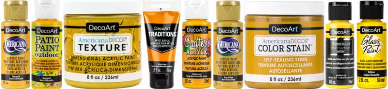 A line-up of various DecoArt's acrylic paints in shades of marigold yellow.