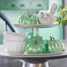Metallic Green Pumpkin Décor