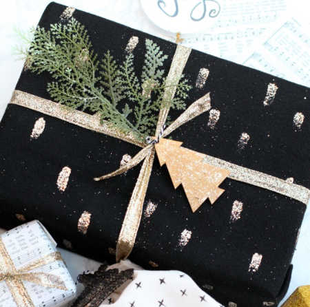 black and gold gift wrap