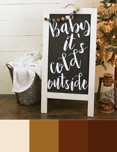 Monochrome color palette starting at warm white and ending at dark brown