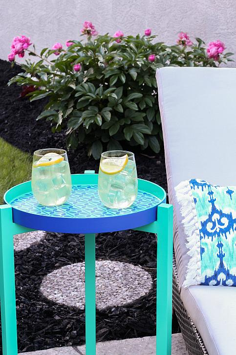 Moroccan Tile Inspired Outdoor End Table