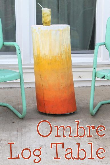 Decoart blog crafts ombre log table for Woodpile fun craft ideas