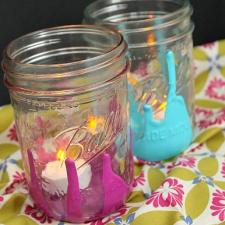 Paint Drip Jar Candle Holders