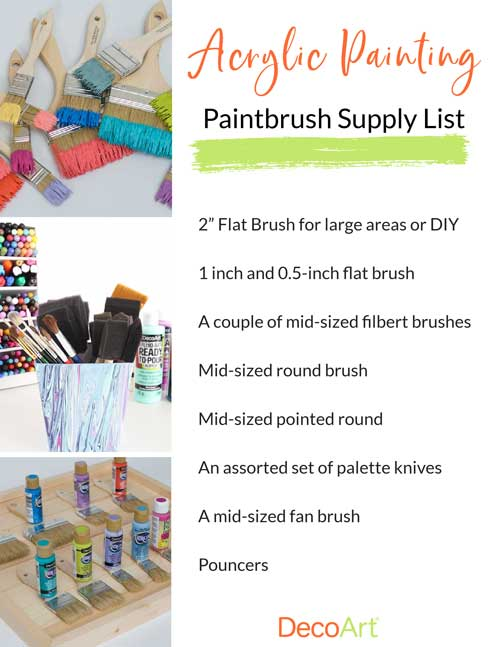 A list of basic paintbrushes people can buy to start acrylic painting