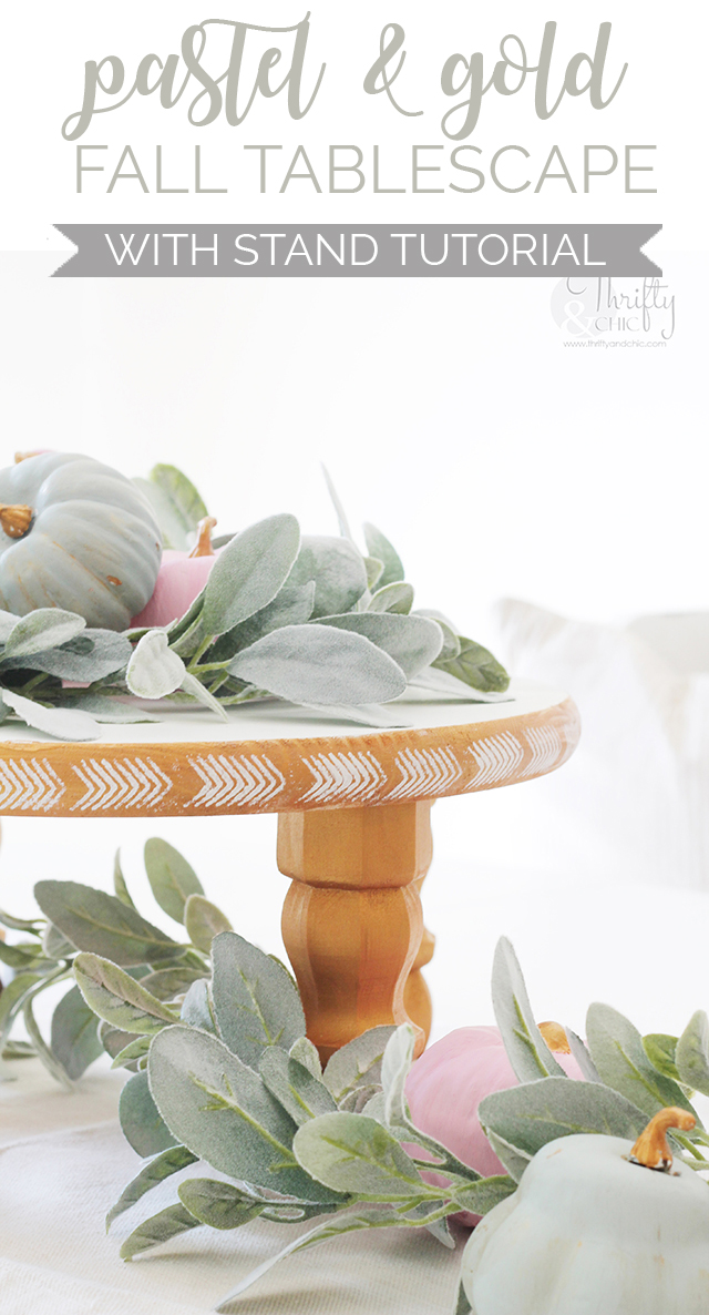 Pastel and Gold Fall Tablescape Pinnable Image