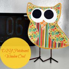 Patchwork Wooden Owl