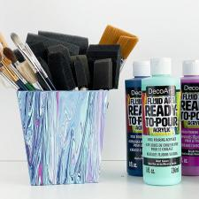 Paint Poured Brush Holder Cup