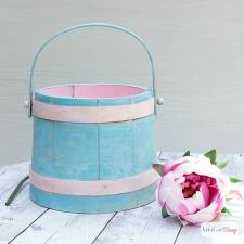 Spring Pastels Painted Wooden Bucket