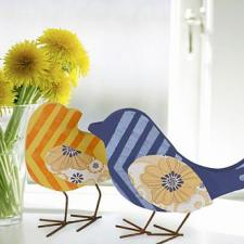 Yellow and Blue Stenciled Birds