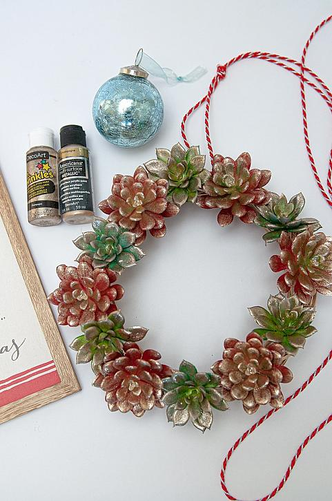 DIY Faux Succulent Glitter Wreath