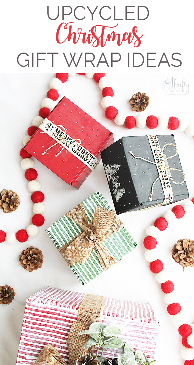 Upcycled Christmas Gift Wrap Ideas  Pinnable Image