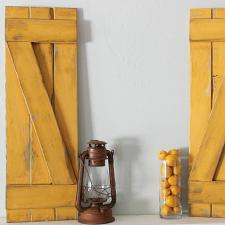 DIY Yellow Distressed Shutters