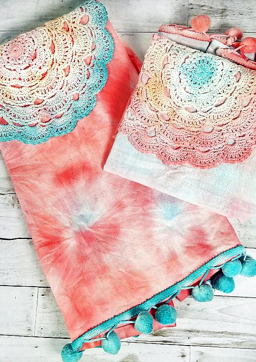 Boho Style Tie- Dyed Tea Towels