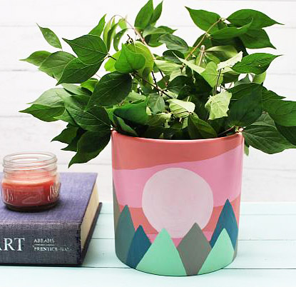 Mountain Sunset Abstract Planter