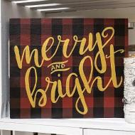 Merry & Bright Plaid Sign