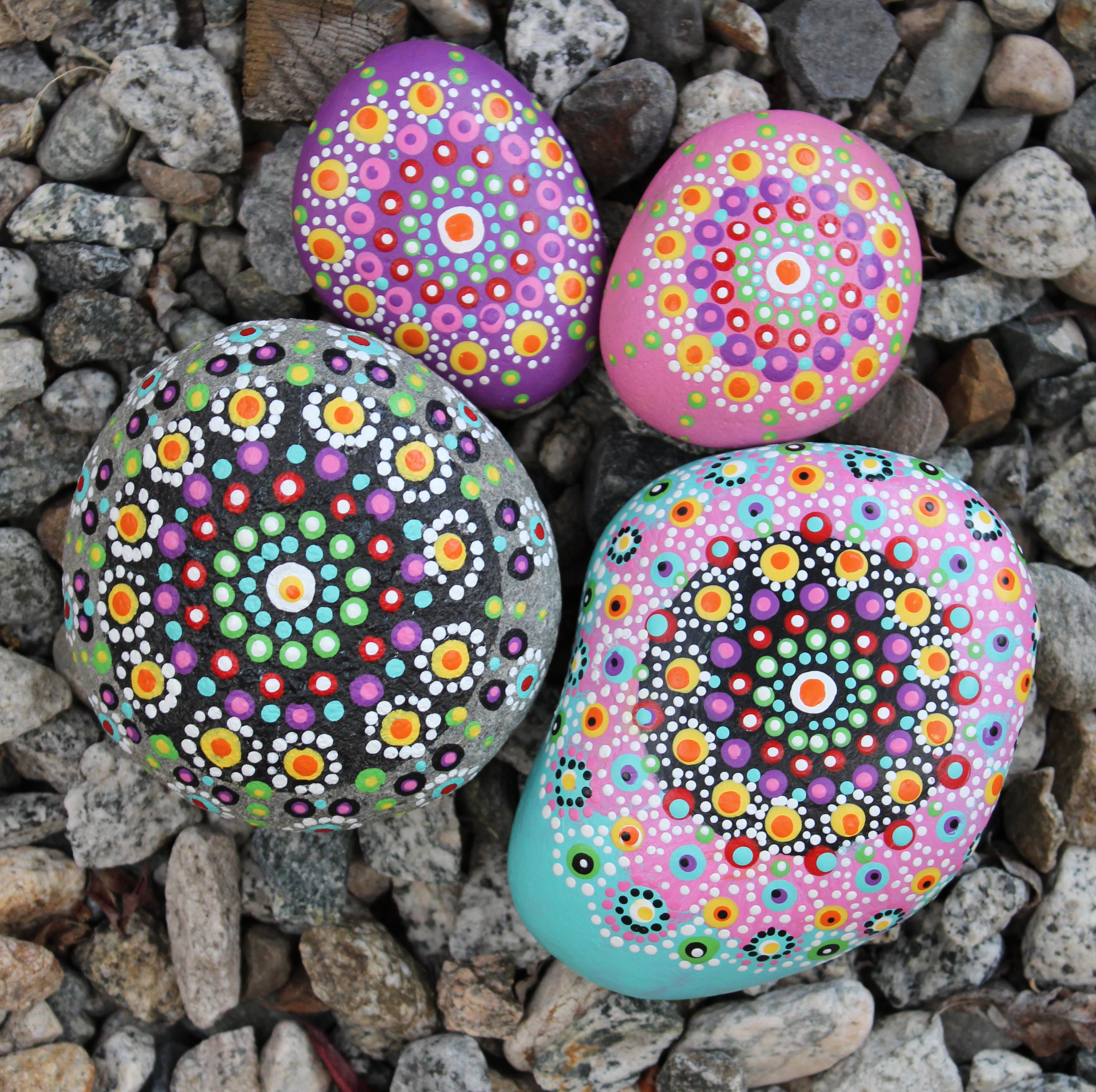 Mandala Painted Rock Flowers Project