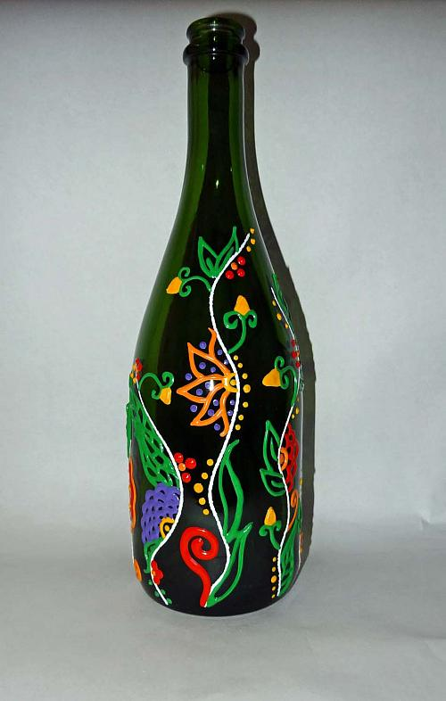 Floral Vine Design Upcycled Wine Bottle Project By Decoart