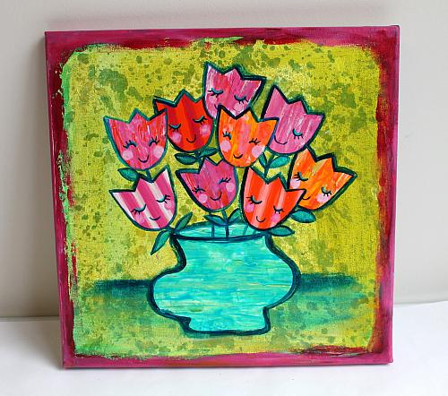 Mixed Media Spring Bouquet Canvas Project By Decoart