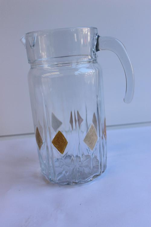 roaring 20s art deco style pitcher and glass set