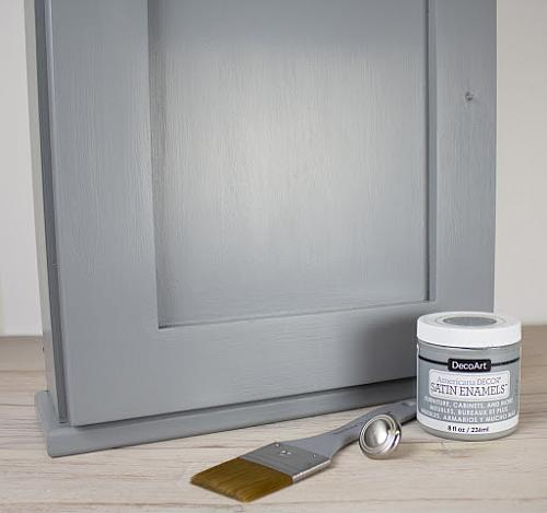 Nice Apply Grey With A Flat Brush To The Entire Cabinet.