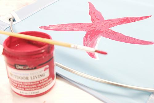 ... Papers To Trace And Transfer The Starfish Pattern To The Back Or Front  Of The Chair. Use A Round Brush To Basecoat The Starfish In Garden Party.