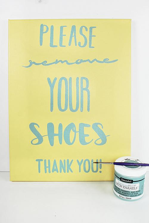 Please remove your shoes word art canvas project by decoart to trace and transfer the remove your shoes word pattern to the center of the canvas use a round brush to paint on the words with seaside blue publicscrutiny Images