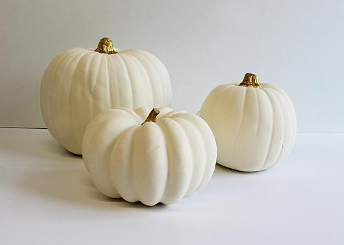 Elegant Gold And White Pumpkins And Stands Project By