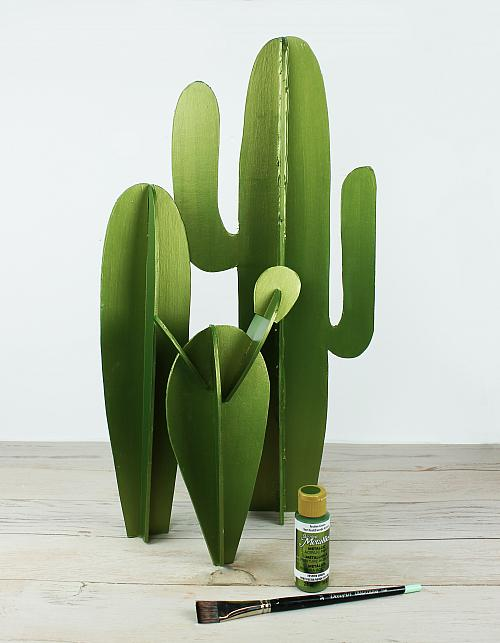 If Needed Use A Small Amount Of Hot Glue To Hold Them In Place Using Large Flat Brush Paint All The Cacti Festive Green