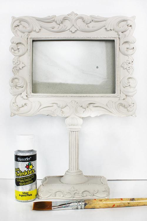 Silver Glittered Frame on Stand - Project by DecoArt
