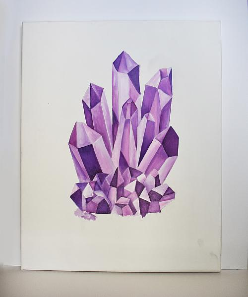 Premium tube acrylic purple crystal painting project by for Paintings of crystals