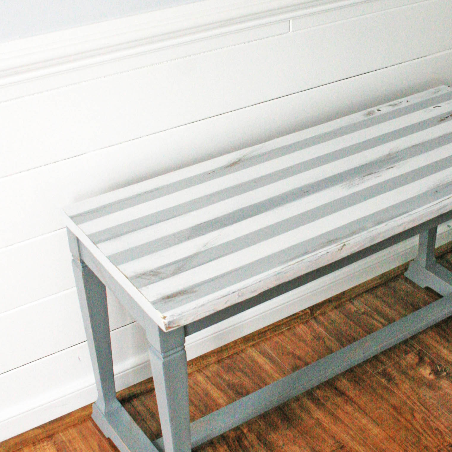 Stylish Striped Piano Bench Makeover Project by DecoArt