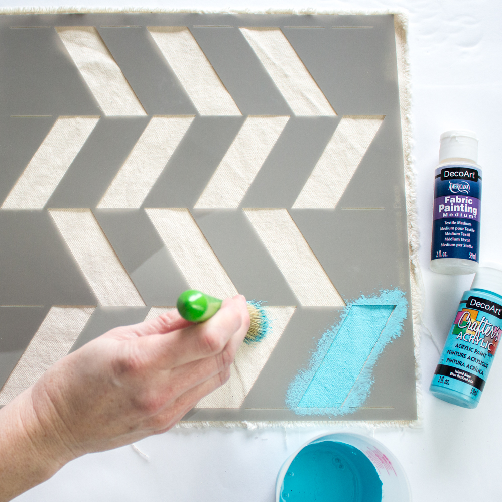 Modern Painted Canvas Table Runner Project By Decoart