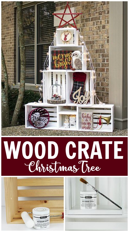 Woodland Inspired Stacked Crate Christmas Tree Project