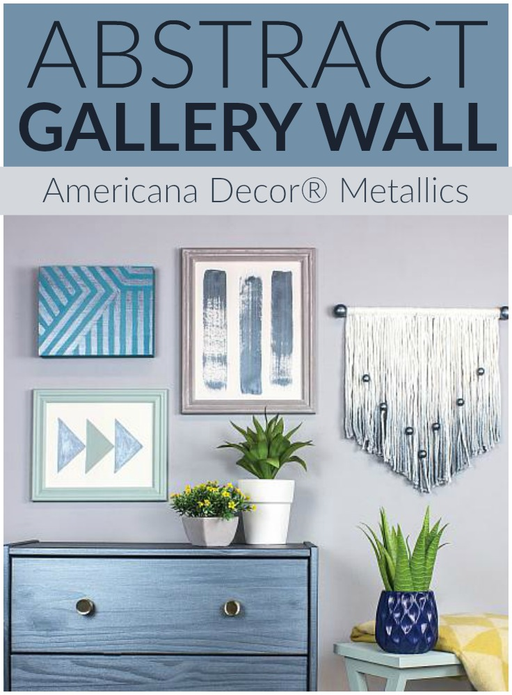 Abstract Gallery Wall with Metallic Accents
