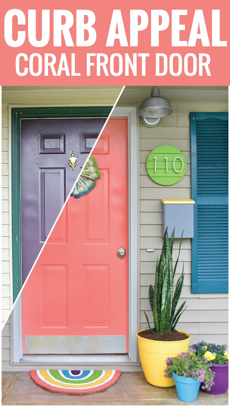 Coral Front Door with Curb Appeal