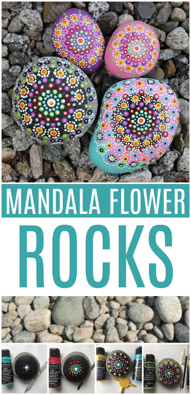 Mandala Painted Rock Flowers