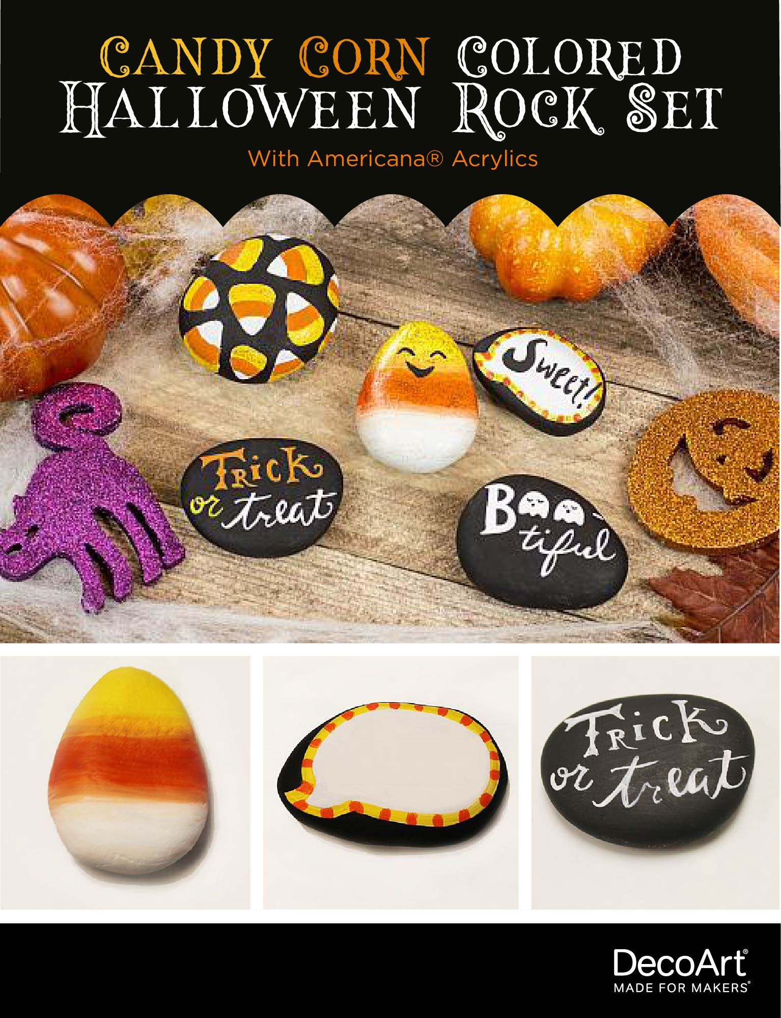 Candy Corn Colored Halloween Rock Set