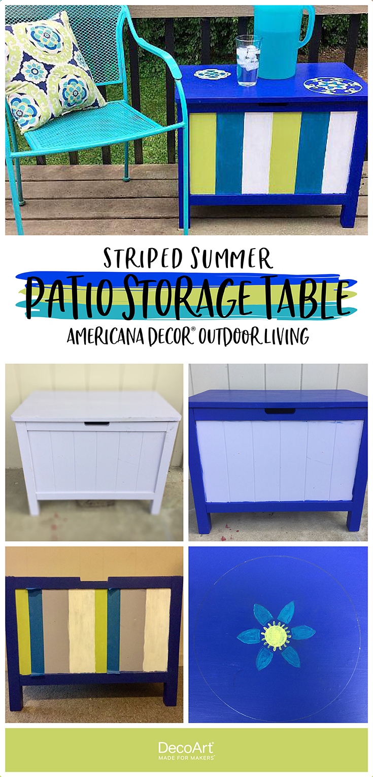Striped Summer Table with Storage