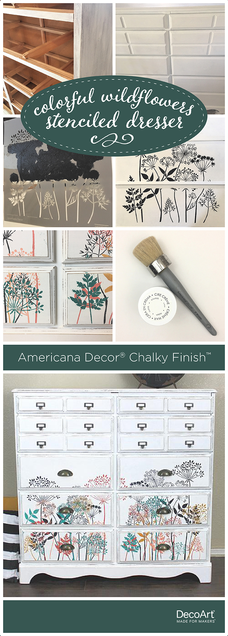 Colorful Wildflowers Stenciled Dresser