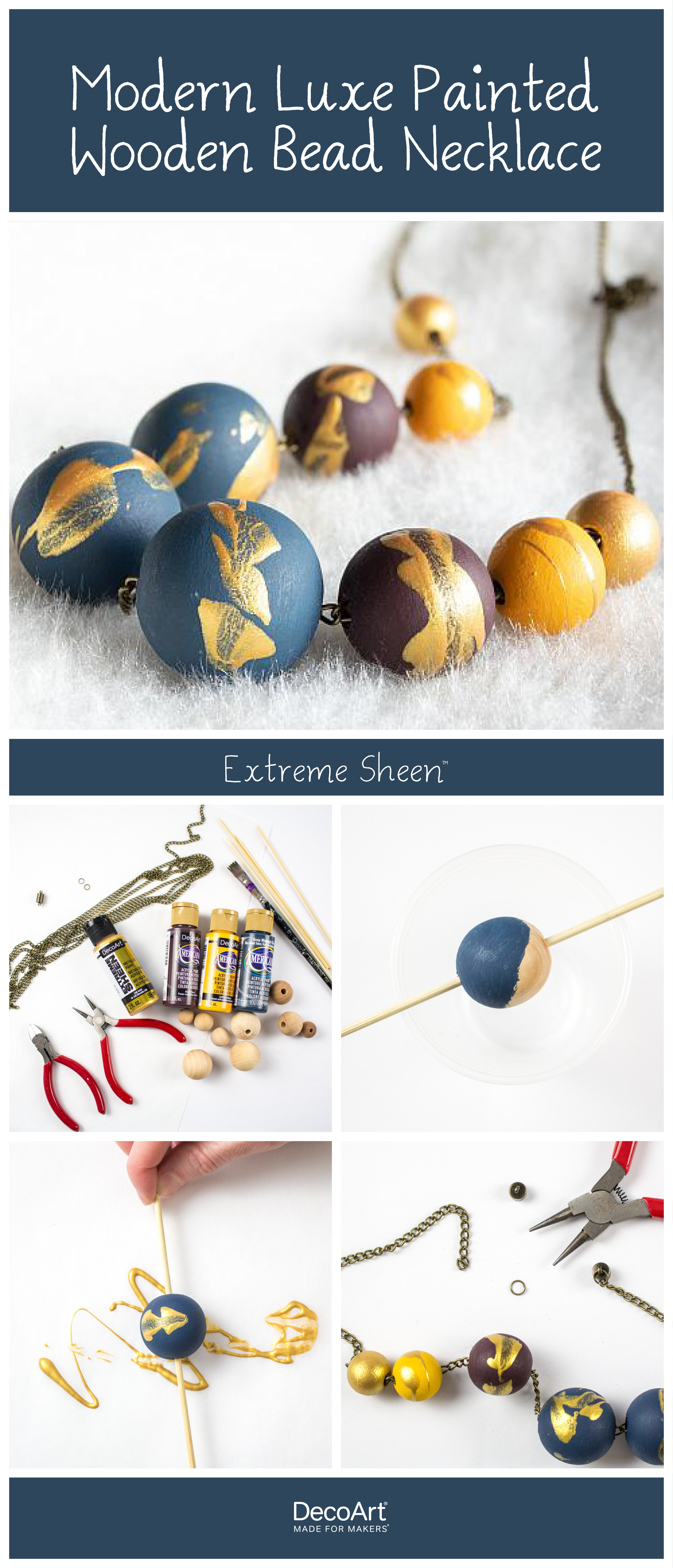Modern Luxe Painted Wooden Bead Necklace