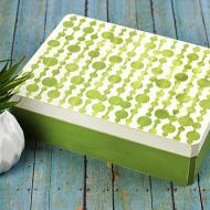 White and Green Stenciled Box