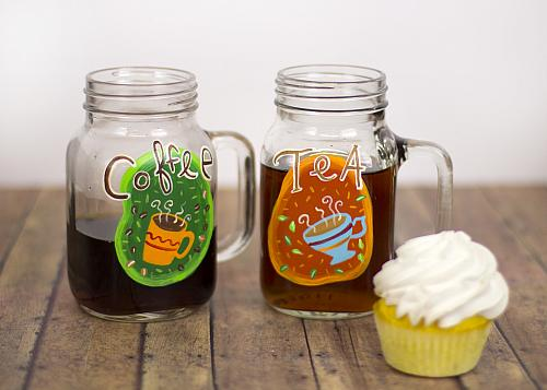 Colorful Coffee and Tea Mason Jar Mug Set