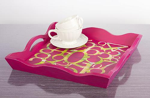 Hot Pink Stenciled Numeric Tray Project By Decoart